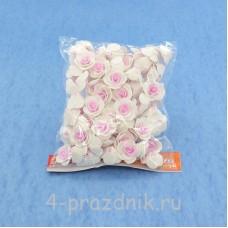 Цветы латексные размер №1, бело-розовые latex014