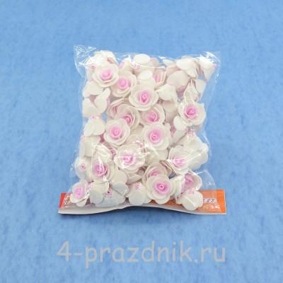 Цветы латексные размер №1, бело-розовые latex014 оптом