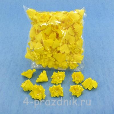 Латексные цветы размер №2, желтого цвета latex055 оптом