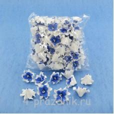 Латексные цветы размер №2, бело-синие latex058