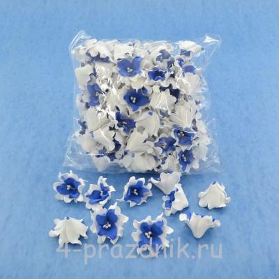 Латексные цветы размер №2, бело-синие latex058 оптом
