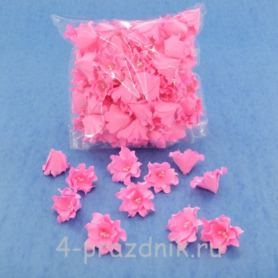 Латексные цветы размер №2, ярко-розовые latex059 оптом