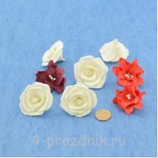 Латексные цветы размер №2, цвета корал latex061