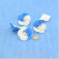 Латексные цветы размер №3, бело-голубые latex073