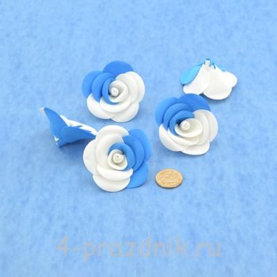 Латексные цветы размер №3, бело-голубые latex073 оптом
