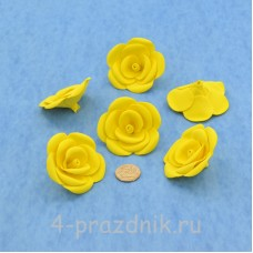 Латексные цветы размер №3, желтые latex077