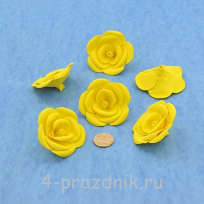 Латексные цветы размер №3, желтые latex077 оптом