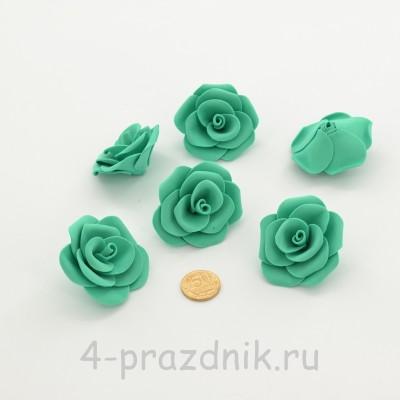 Латексные цветы размер №3, бирюзовые latex079 оптом