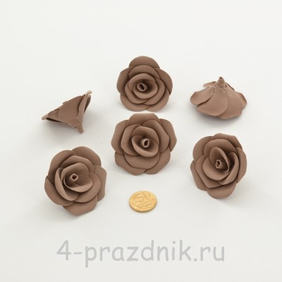 Латексные цветы размер №3, цвета светлый шоколад latex084 оптом
