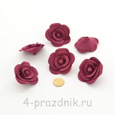 Латексные цветы размер №3, бордового цвета latex087 оптом