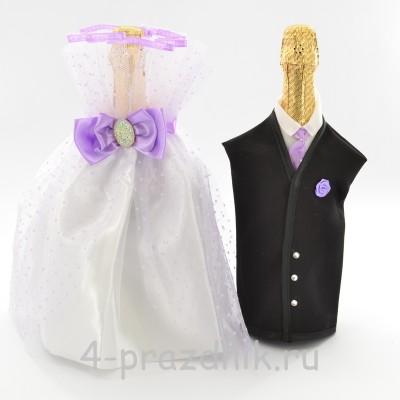 Одежда на шампанское с сиреневым бантом sam036 оптом