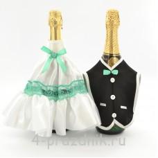 Одежда на шампанское цвета мята sam060