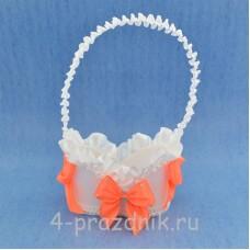 Корзинка для шампанского с оранжевыми бантами sam069