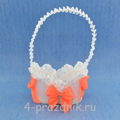 Корзинка для шампанского с оранжевыми бантами sam069 оптом