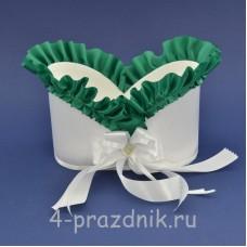 Корзинка для шампанского с зеленой-изумрудной рюшью sam078