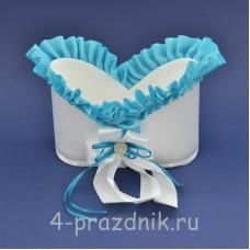 Корзинка для шампанского с голубой рюшью sam079