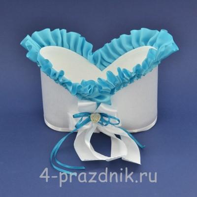 Корзинка для шампанского с голубой рюшью sam079 оптом