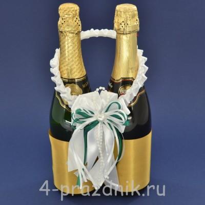 Украшение на шампанское с бантиком зеленого цвета sam082 оптом