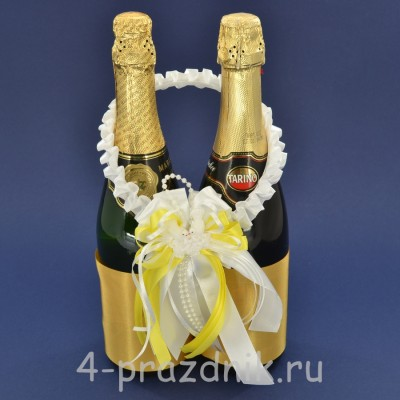 Украшение на шампанское с бантиком желтого цвета sam083 оптом