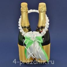Украшение на шампанское с бантиком  цвета яблоко sam084