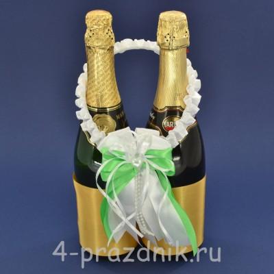 Украшение на шампанское с бантиком  цвета яблоко sam084 оптом