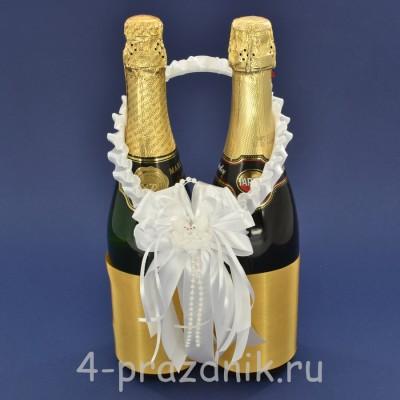 Украшение на шампанское с бантиком белого цвета sam085 оптом