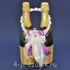 Украшение на шампанское с бантиком фиолетового цвета sam086