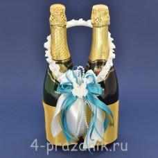Украшение на шампанское с бантиком голубого цвета sam087