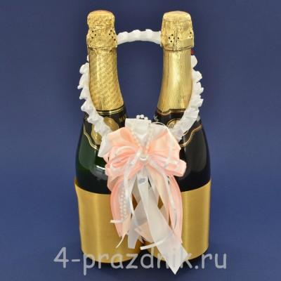 Украшение на шампанское с бантиком персикового цвета sam088 оптом