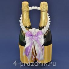 Украшение на шампанское с бантиком сиреневого цвета sam089
