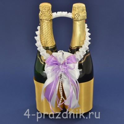 Украшение на шампанское с бантиком сиреневого цвета sam089 оптом