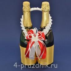 Украшение на шампанское с бантиком красного цвета sam090