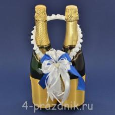 Украшение на шампанское с бантиком синего цвета sam091