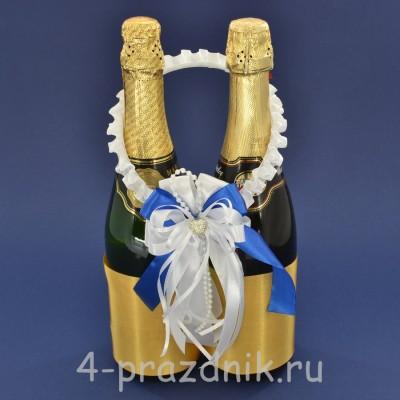 Украшение на шампанское с бантиком синего цвета sam091 оптом
