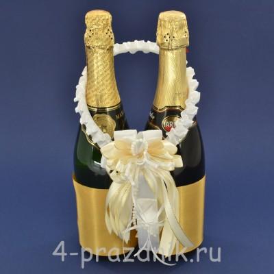 Украшение на шампанское с бантиком  цвета айвори sam092 оптом