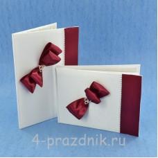 Комплект папка для свидетельства с книгой пожеланий с бордовыми бантами svid142