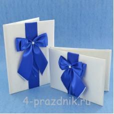 Комплект папка для свидетельства с книгой пожеланий с синими бантами svid143