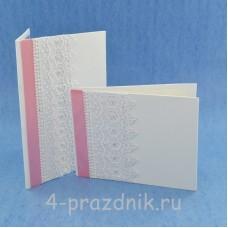 Комплект папка для свидетельства с книгой пожеланий бело-розовые с белой рюшью svid145