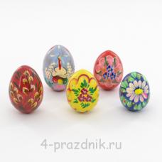 Пасхальное яйцо деревянное крашенное -- 10 шт в уп pas003