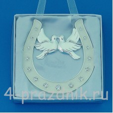Подкова серебряная с парой голубей, подвесная, со стразами HG02000
