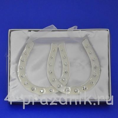 Подкова серебряная двойная, подвесная, со стразами HG10800 оптом