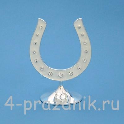 Подкова серебряная, на подставке, со стразами HG12101 оптом