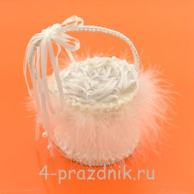 Корзинка для колец  белого цвета podushka012 оптом
