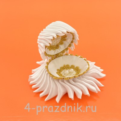 Ракушка для колец белого цвета podushka013 оптом