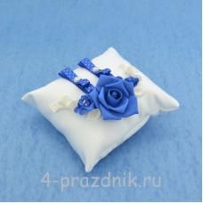 Подушка для колец в синем оформлении podushka030