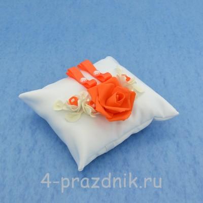 Подушка для колец в оранжевом оформлении podushka031 оптом