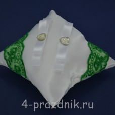 Подушка под кольца,атласная с зеленым кружевом   podushka038