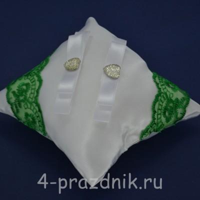 Подушка под кольца,атласная с зеленым кружевом   podushka038 оптом