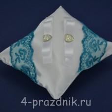 Подушка под кольца,атласная с бирюзовым кружевом  podushka039