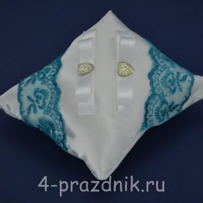 Подушка под кольца,атласная с бирюзовым кружевом  podushka039 оптом